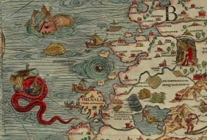 Maelstrom de Norvège par Olaus Magnus, Carta Marina, 1539